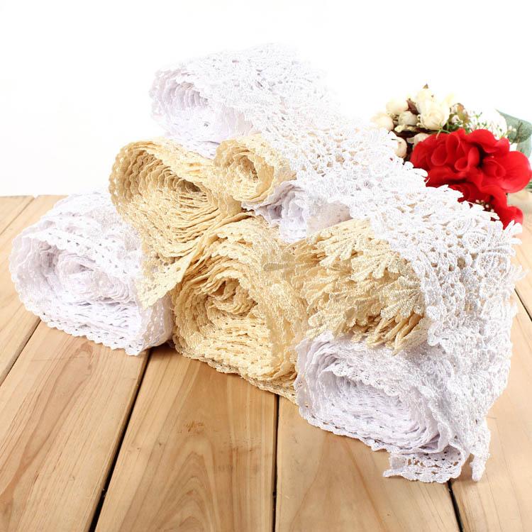 1 3 5 10 Yard White Beige Embroidery Lace Trim DIY Sewing Needlework Wedding Dress Accessories