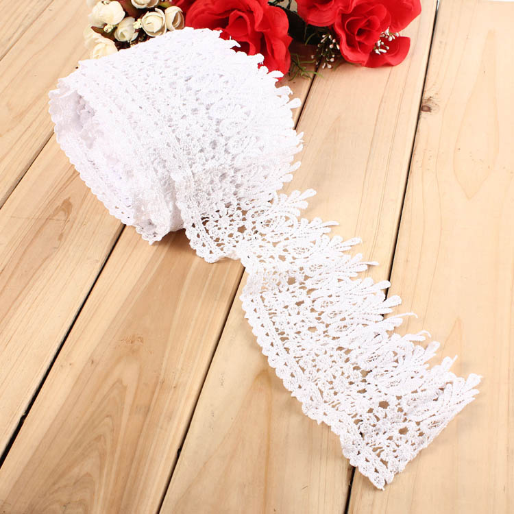 1 3 5 10 Yard White Beige Embroidery Lace Trim DIY Sewing Needlework Wedding Dress Accessories