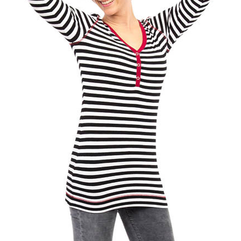 Women Striped Long Sleeve V-neck Casual Breastfeeding Clothing Tops