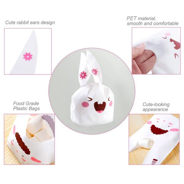 Christmas 50pcs Cute Easter Bunny Cookies Bag Wedding Decoration Snow Man Ear Plastic Candy Bag
