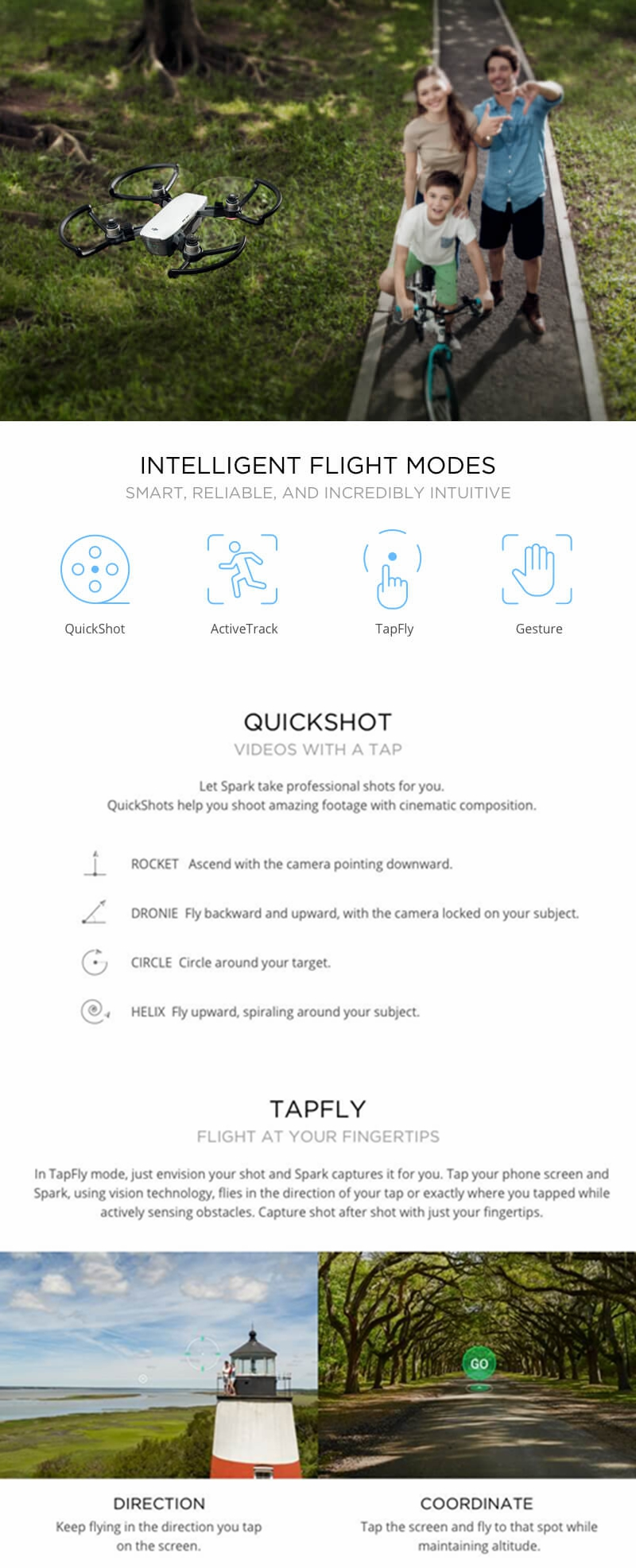 DJI Spark 2KM FPV with 12MP 2-Axis Mechanical Gimbal Camera QuickShot Gesture Mode RC Drone Quadcopter