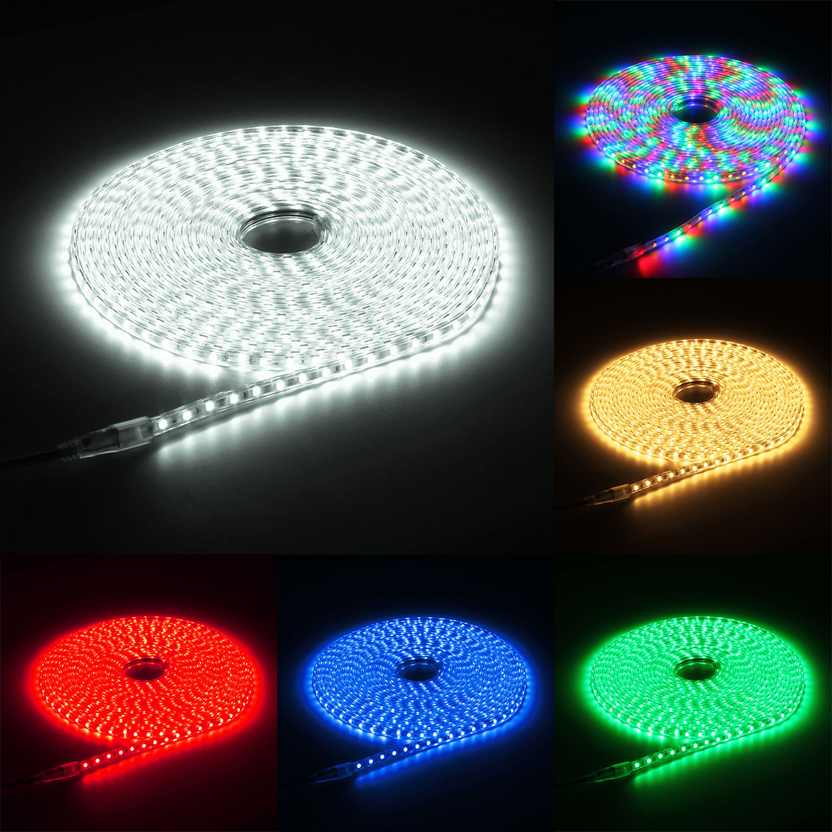 220V 12M 5050 LED SMD Outdoor Waterproof Flexible Tape Rope Strip Light Xmas