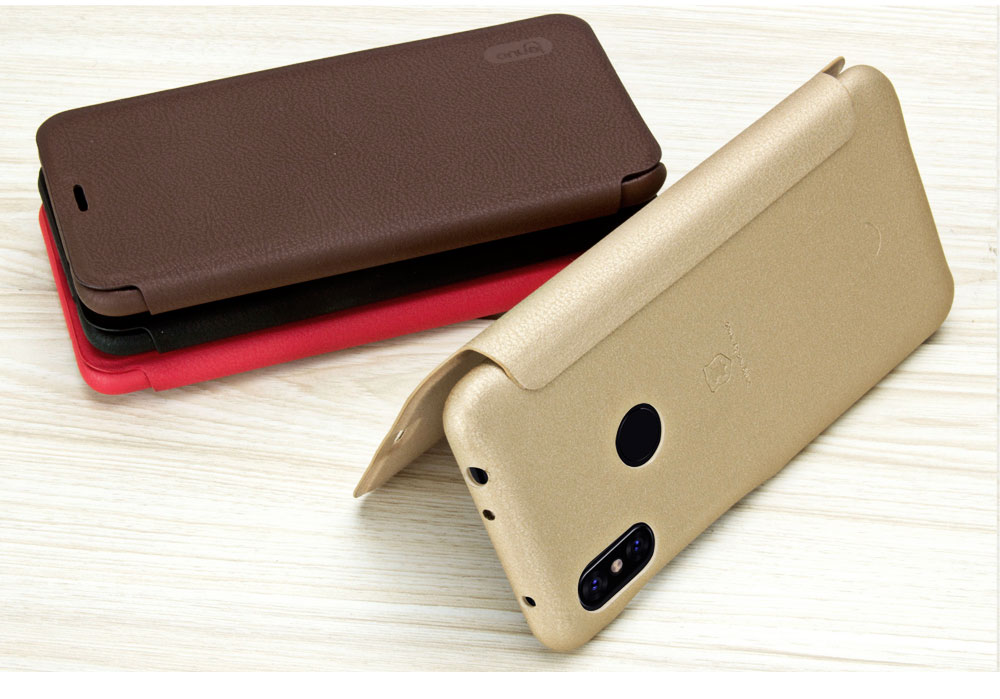 LENUO Filp Card Holder Soft Leather PU+PC Full Body Protective Case For Xiaomi Redmi Note 6 Pro