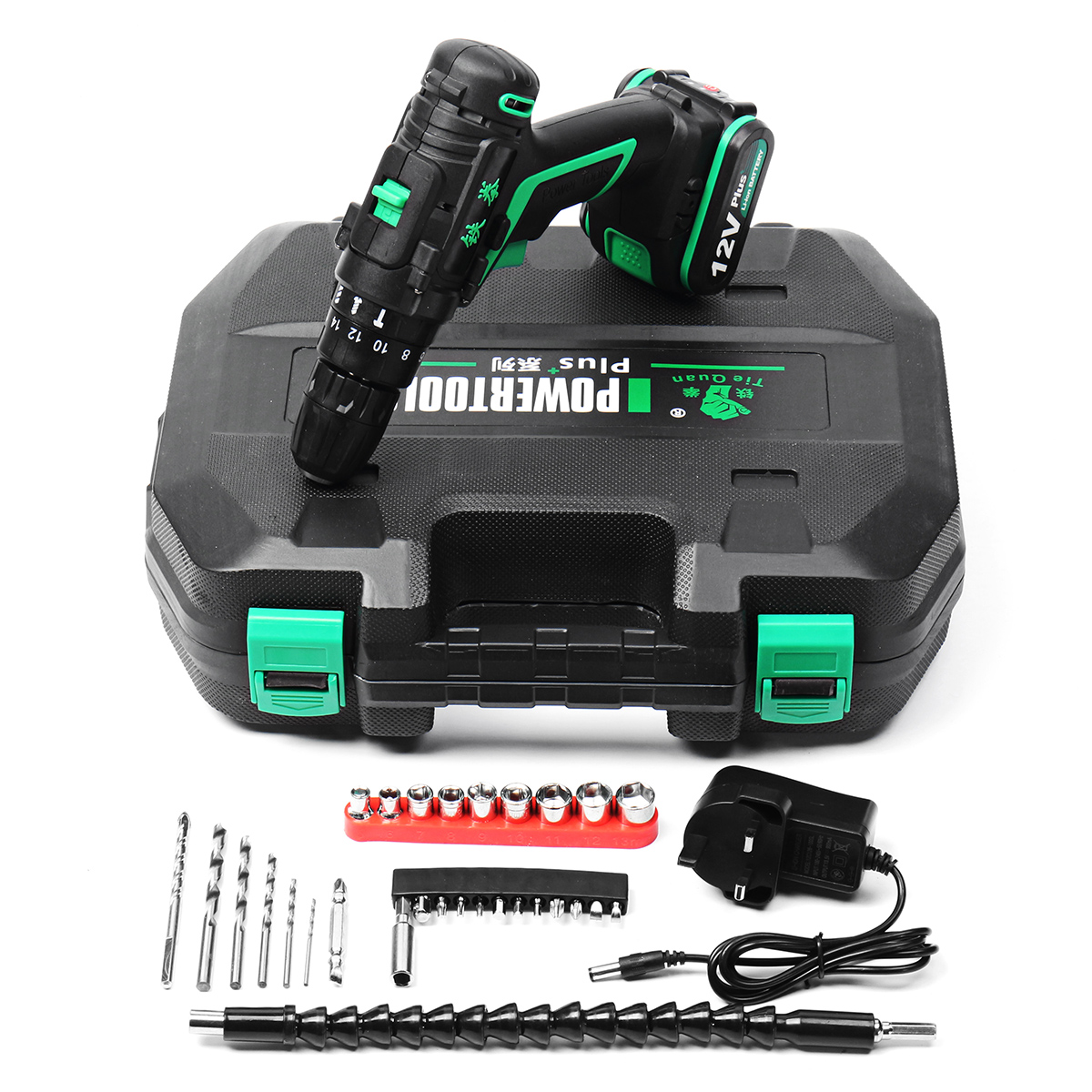 12V 1.5Ah Li-ion Battery Cordless Electric Hammer Power Drills Two Speed Power Screwdriver