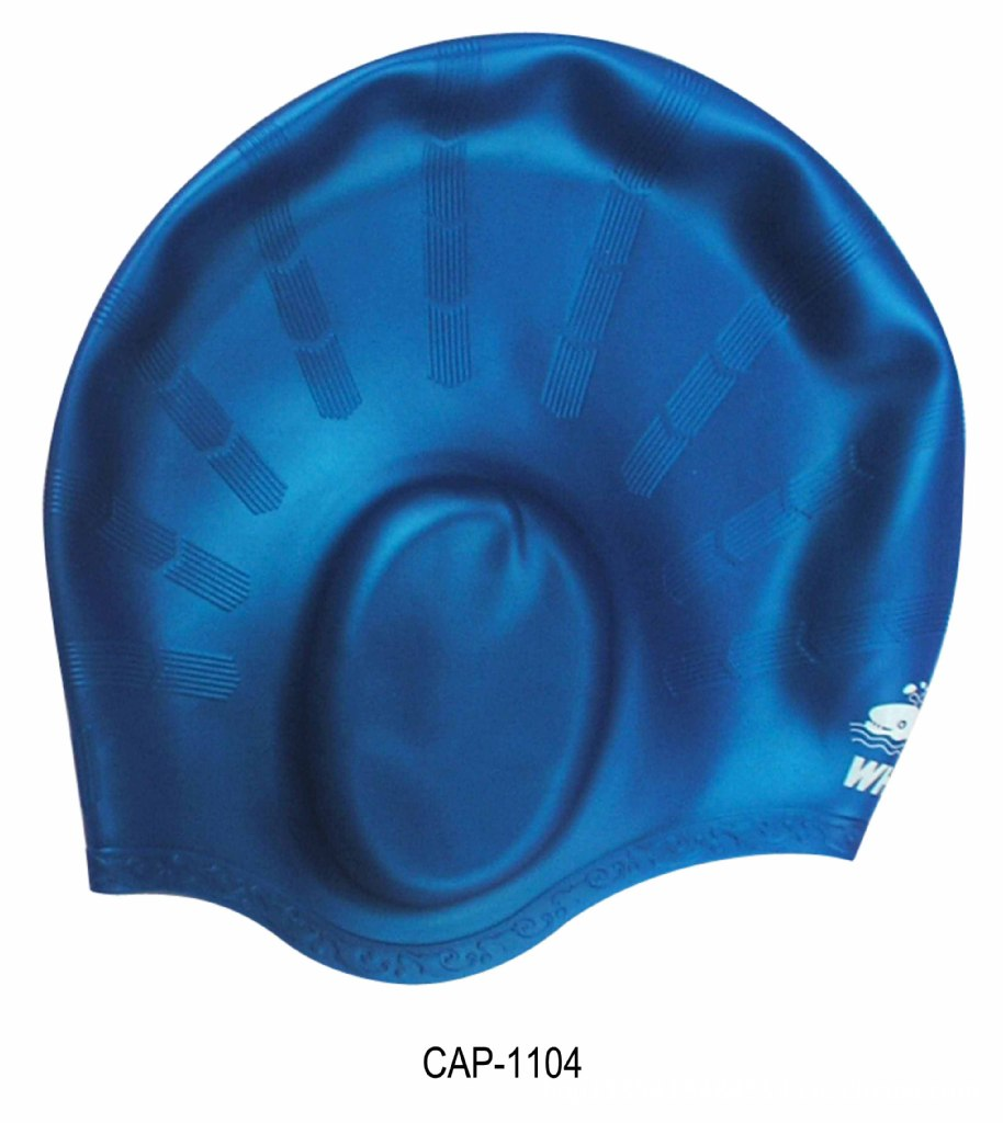Whale Hooded Swimming Cap Wrap Ear Not Sticky Silicone Summer Diving Water Sports Cap
