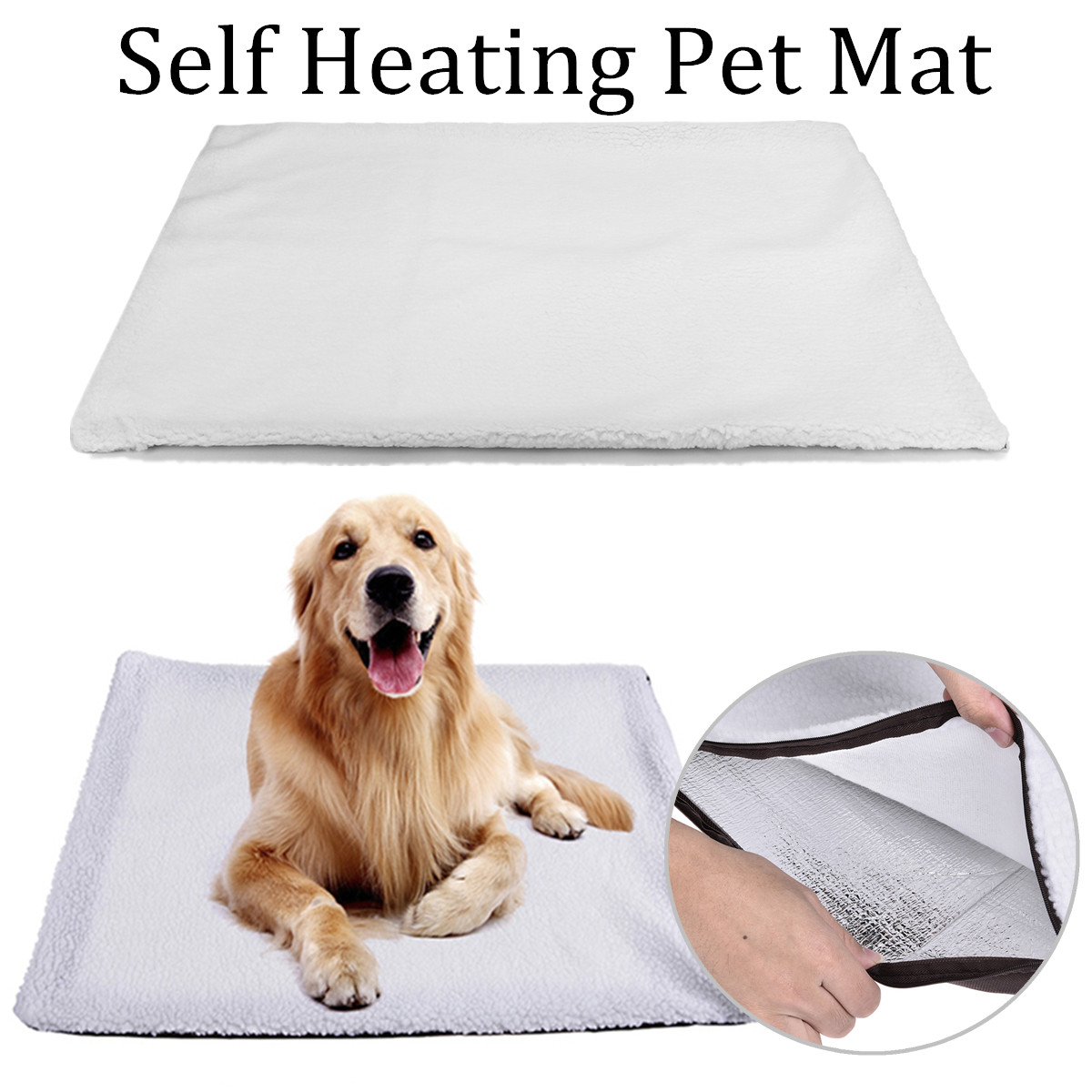 60x90CM Large Self Heating Pet Dog Mat Bed Pad Soft Warm Cat Rug Thermal Washable Pillow