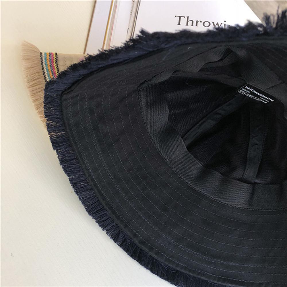 Women Summer Causal Tassel Wide Brim Fisherman Hat