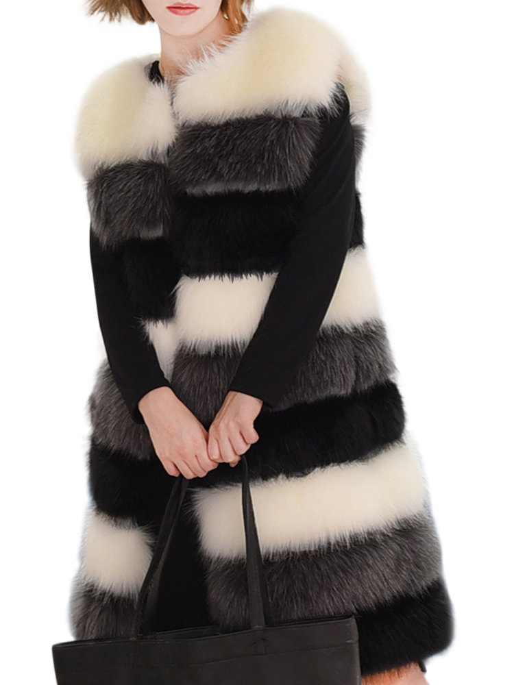 Casual Women Color Block Faux Fur Coat