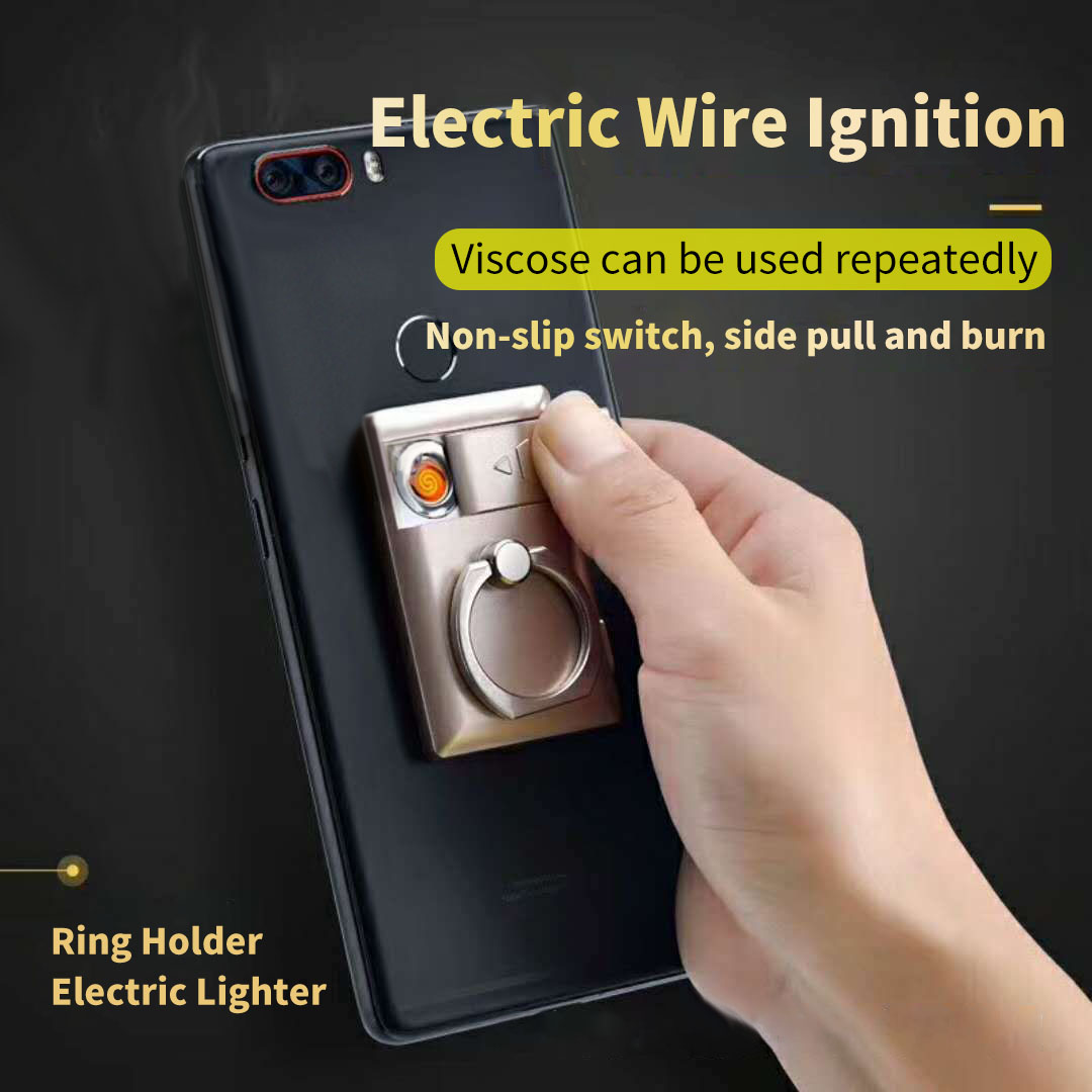KCASA KC-525 2 In 1 Electric Lighter + Phone Finger Ring Paste Stand Phone Holder BBQ Ignitor Starter