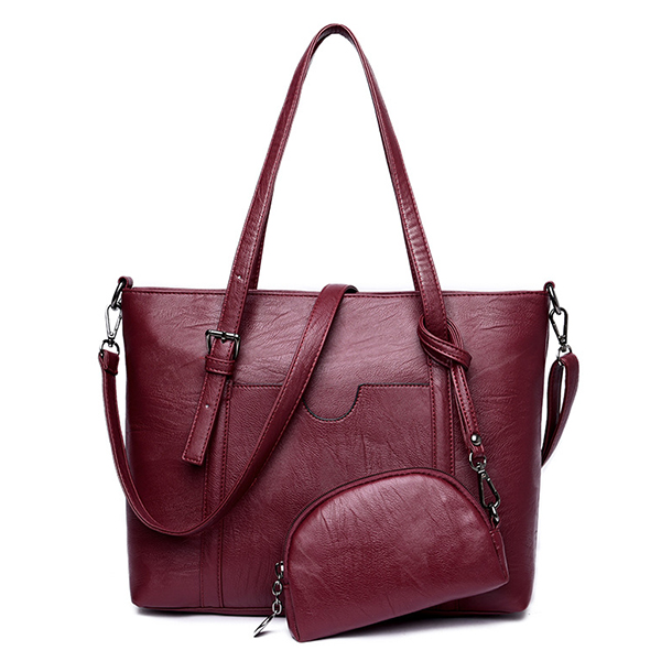 Large Capacity Women Pu Leather Handbag Set Casual Tote