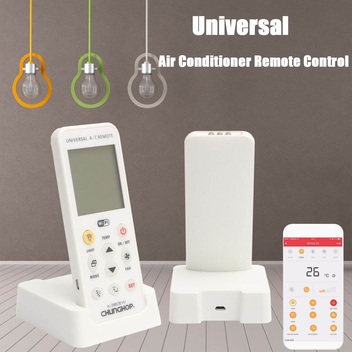 ​​K-380EW WiFi Smart LCD Air-Conditioner Remote Control with Holder Air Conditioner Transmitter