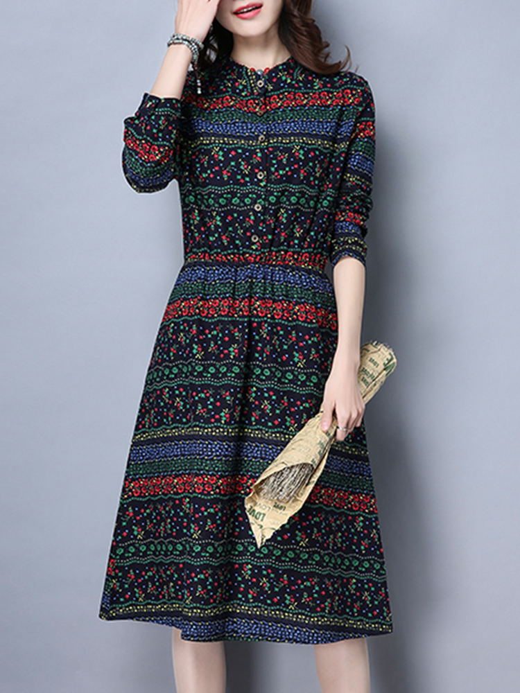 Vintage Women Floral Printed Slim Waist Stand Collar Long Sleeve Dress