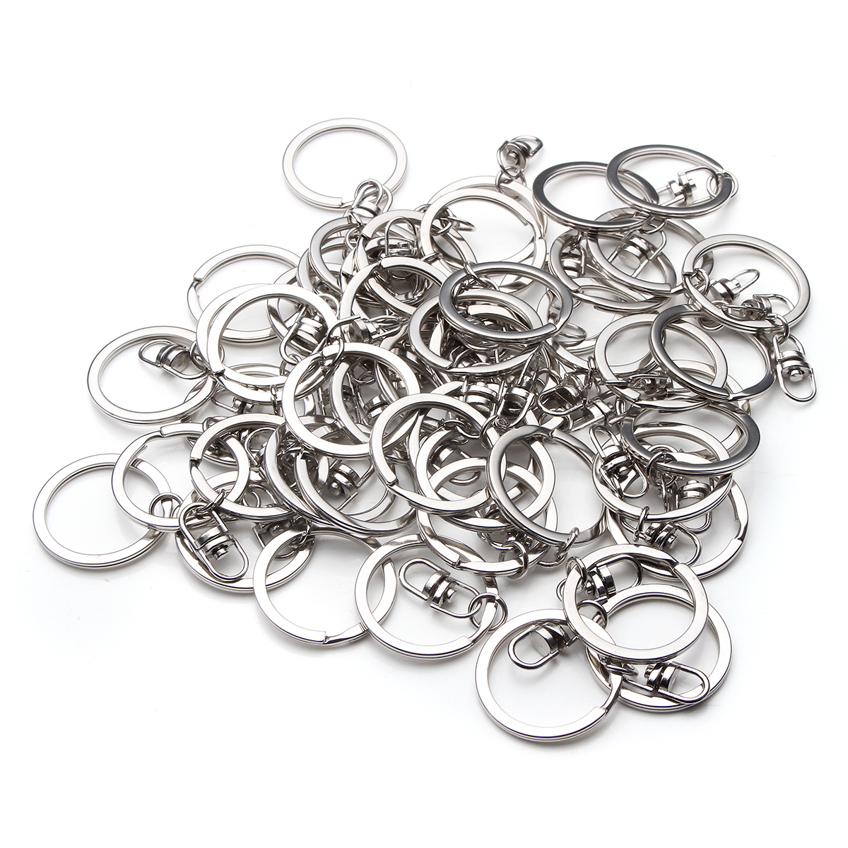 50Pcs Metal Silver Tone Key Rings Keychain Keyfob With Swivel Ring For DIY Craft