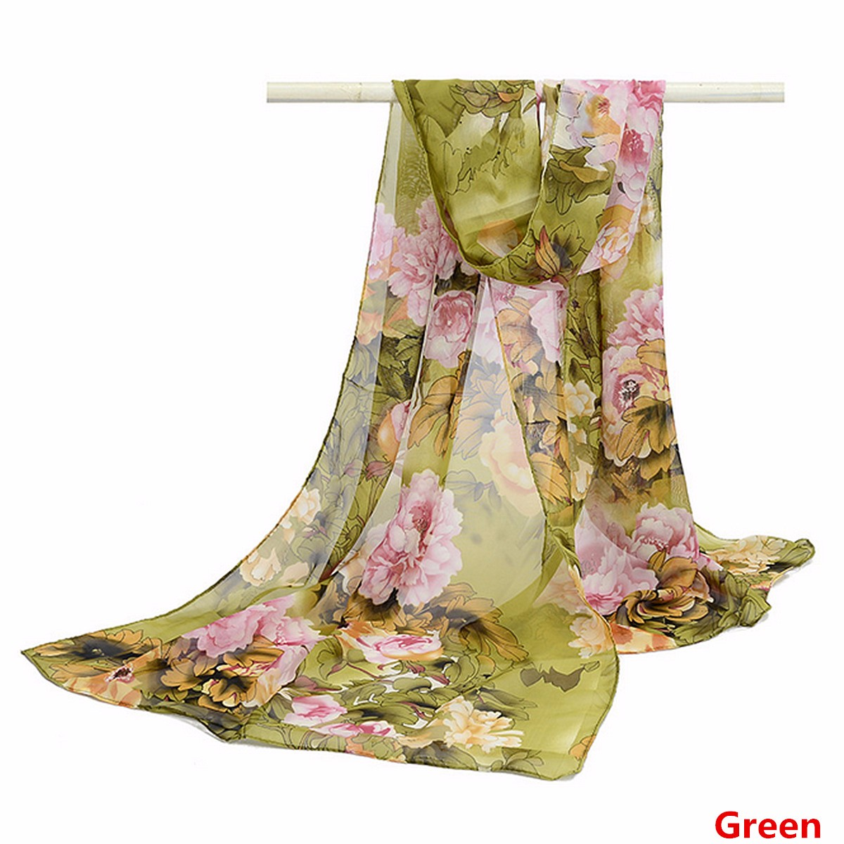 Women Ladies Flower Bird Printed Chiffon Scraves Stole Long Soft Shawl Wrap