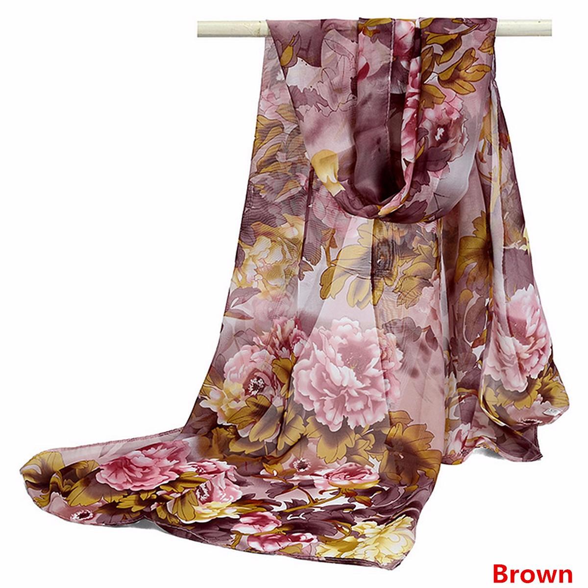Women Ladies Flower Bird Printed Chiffon Scraves Stole Long Soft Shawl Wrap