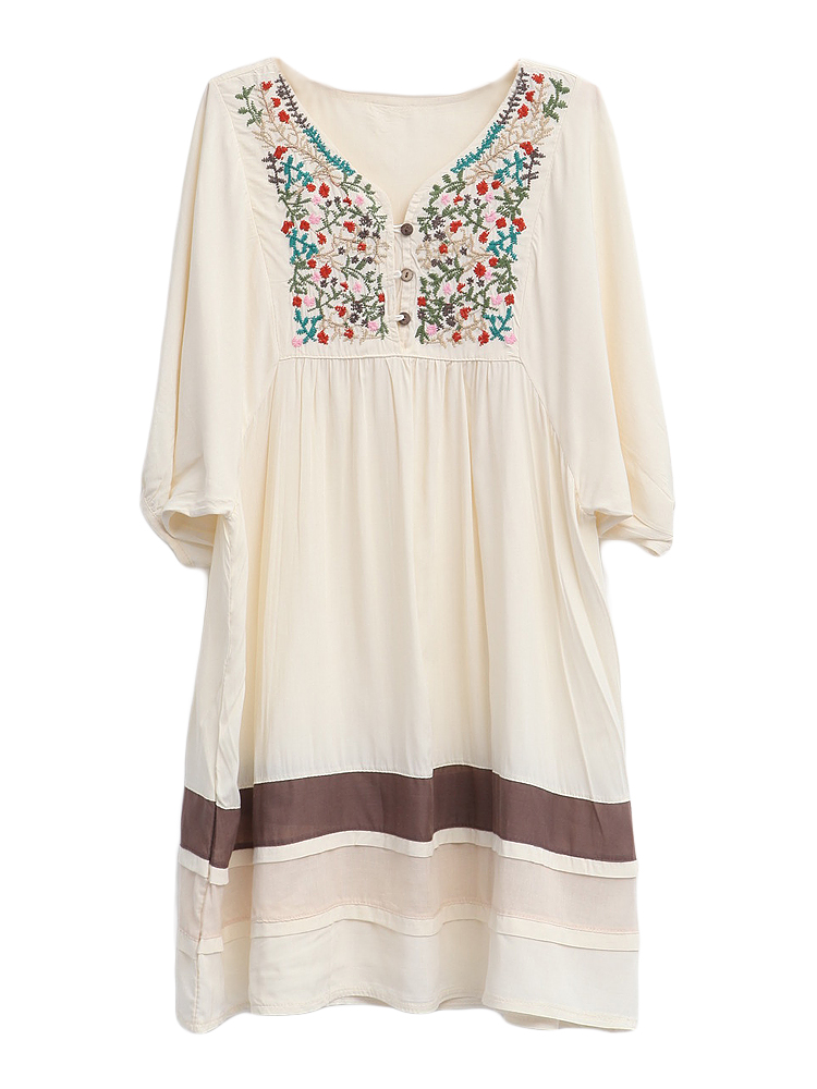 Casual Loose Women Floral Embroidery Stripe Patchwork Dress