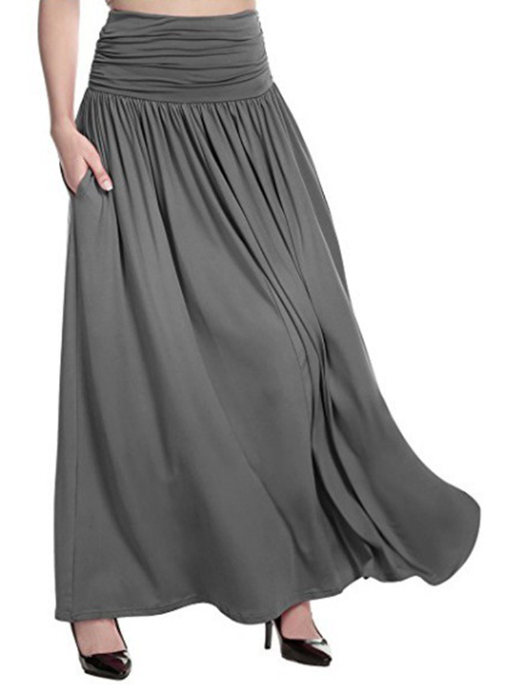 S-5XL Women Casual Pure Color Skirts with Pockets