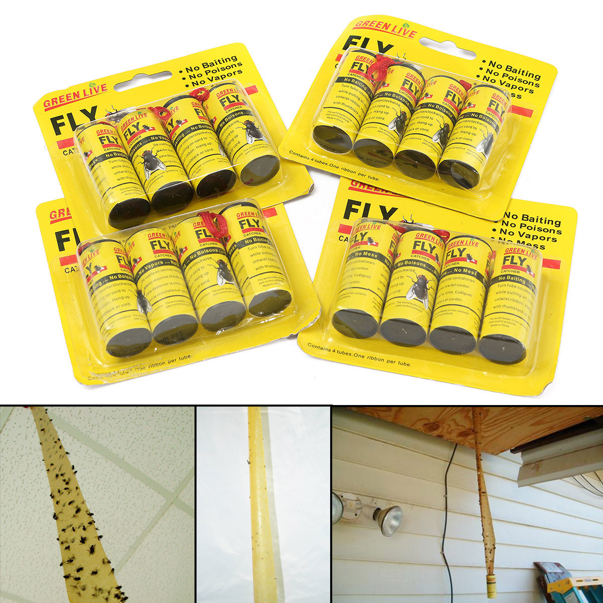 16Pcs Insect Bug Fly Glue Paper Catvher Trap Ribbon Tape Strip Sticky Flies