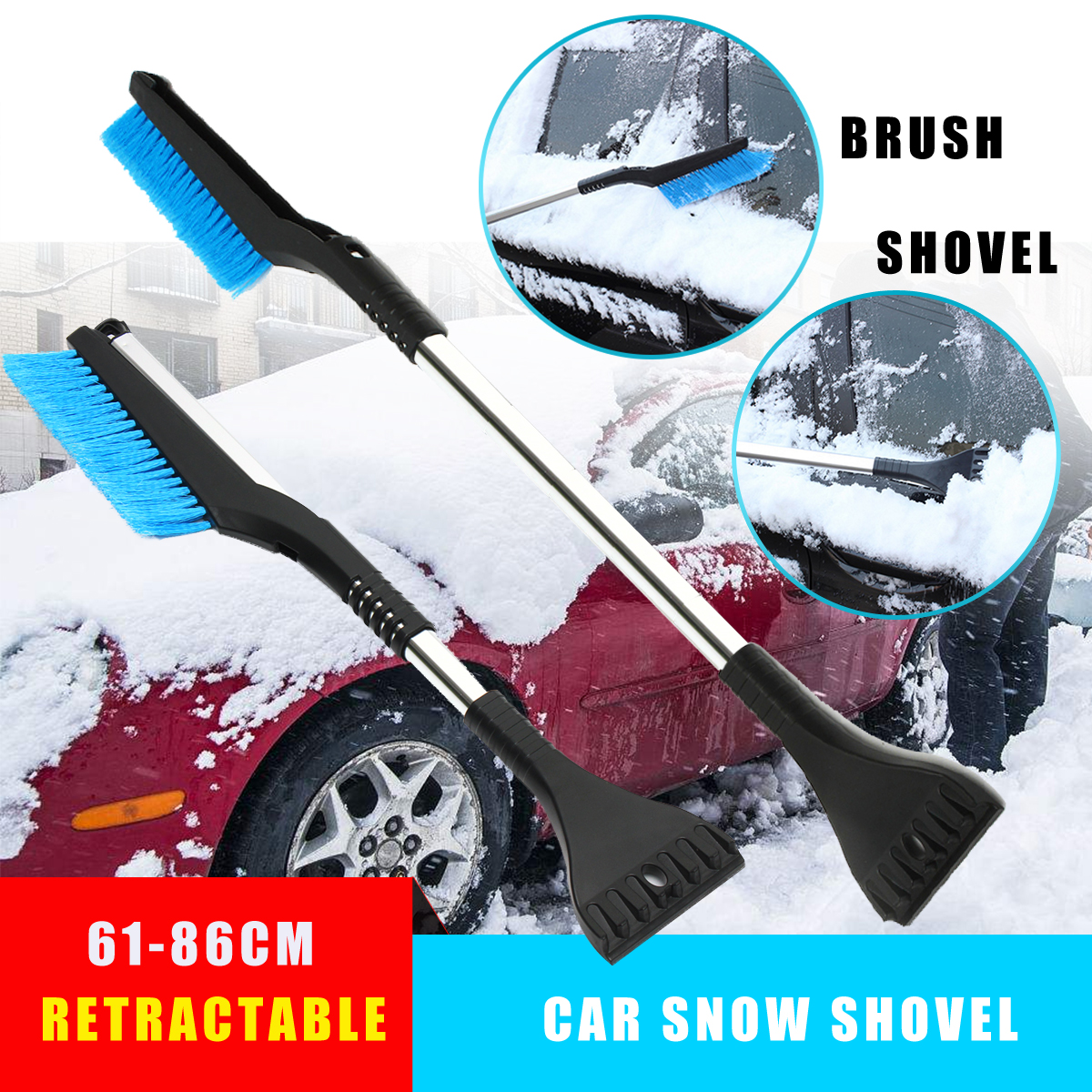 Retractable Car Vehicle Winter Snow Scraper Brush Ice Shovel Removal Cleaner