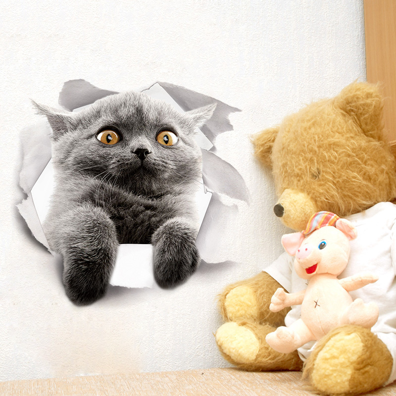 Miico Creative 3D Cute Cat Broken Wall PVC Removable Home Room Decorative Wall Door Car Mirror Decor Sticker