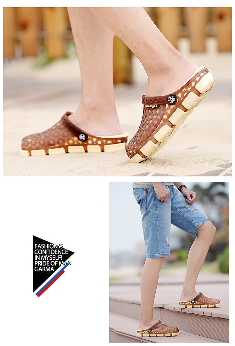 US Size LUOKEN Male Casual Fashion Summer Breathable Hole Semi Slipper Sandals Shoes Water Beach
