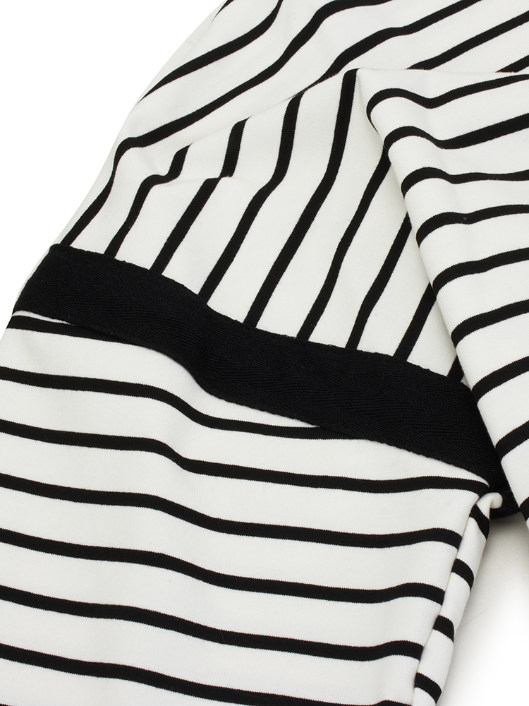 Women Plus Size Leisure Striped Bat Sleeve T-shirt