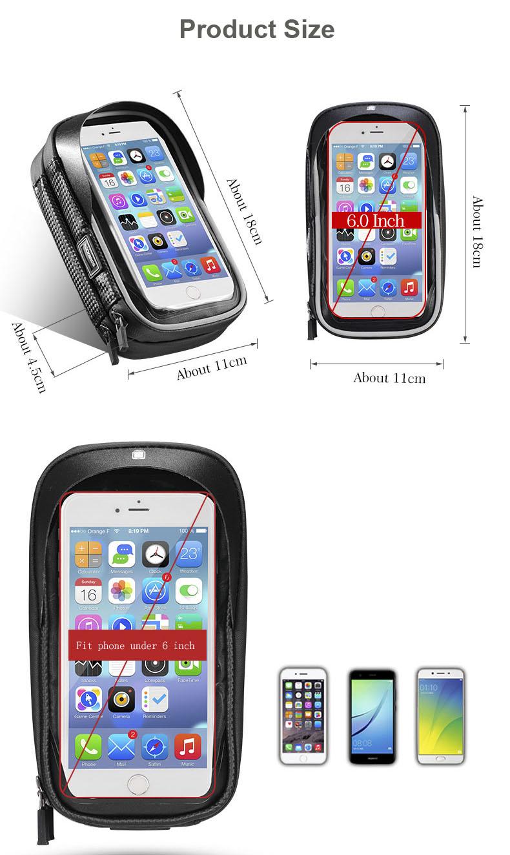 ROCKBROS B31-BK 6.0 Inch Rainproof TPU Touch Screen Bicycle Phone Bag Handlebar Bag MTB Frame Pouch Case