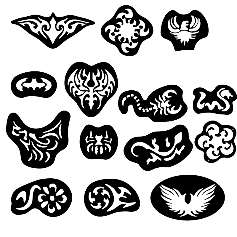 28pcs Hair Tattoo Template Hair Trimmer Carved Dye Coloring Tattoos Patterns Stencil DIY Salon Barber Tools