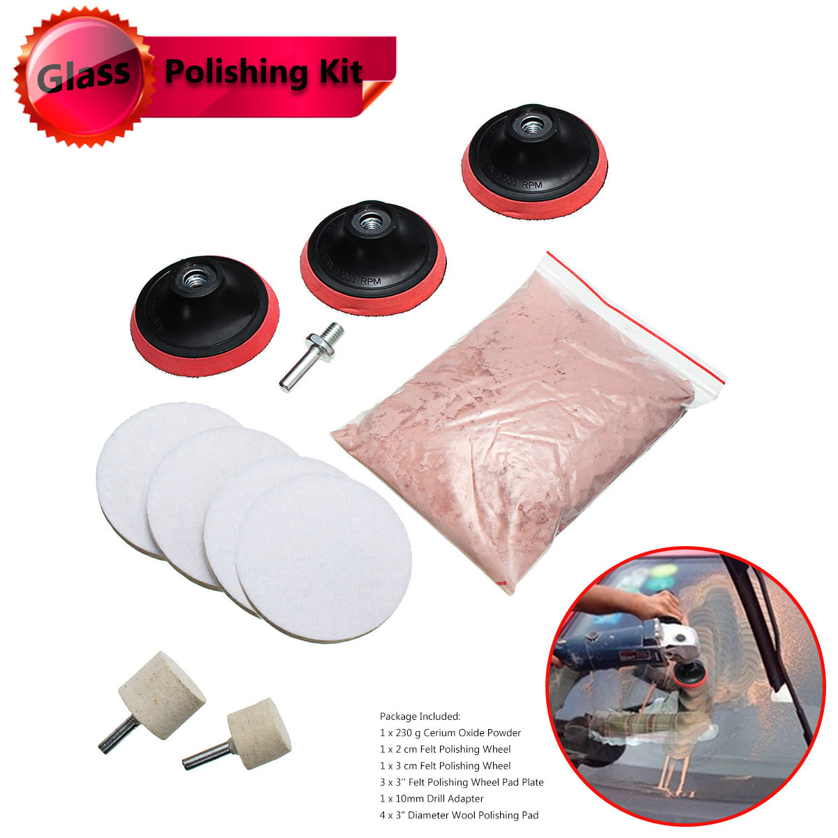 11Pcs 3inch Pad 230g Cerium Oxide Windscreen Scratch Remover Glass Polishing Kit