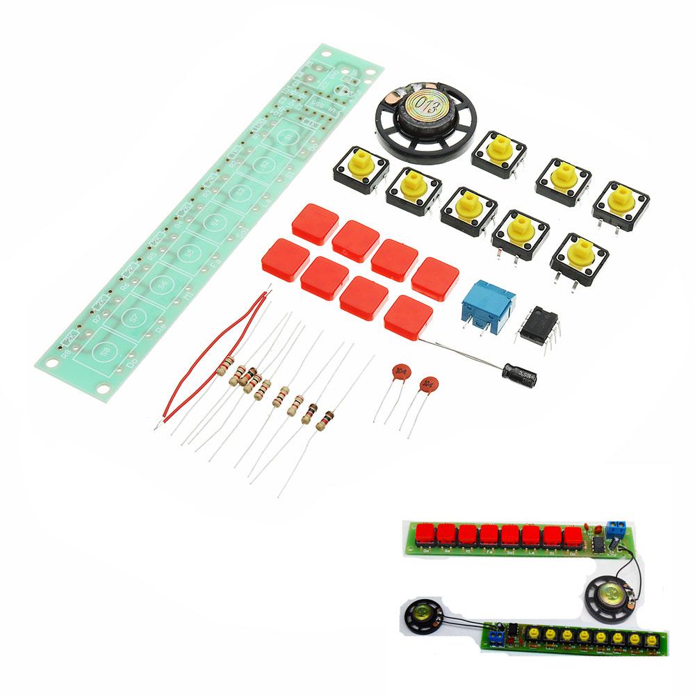 DIY NE555 Electronic Piano Organ Keyboard Module Kits With Battery Box And Button Cap Parts PCB Circuit Board Training Kits