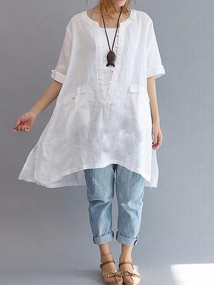 Women Irregular Short Sleeve Loose Solid Blouse