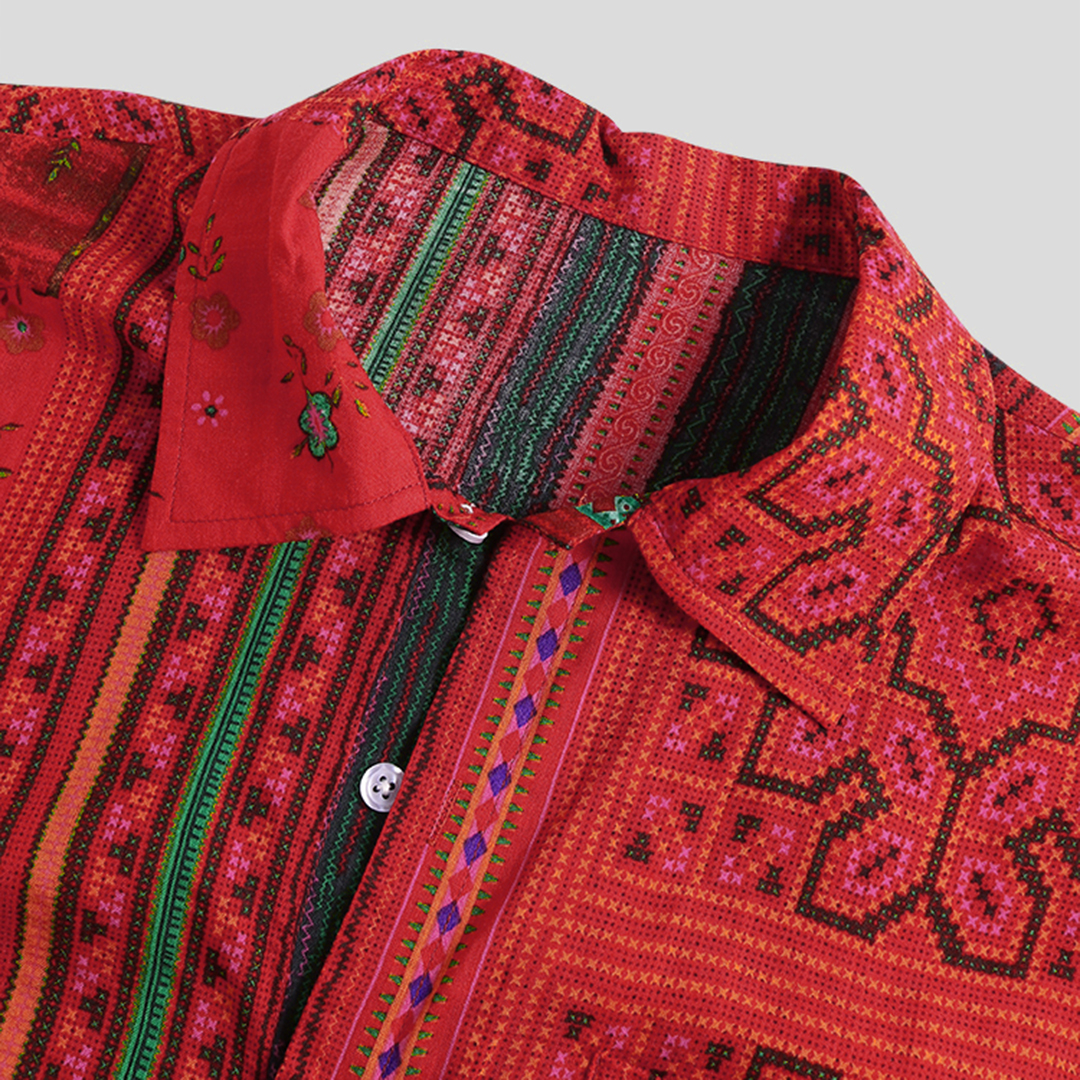 Mens Summer Ethnic Floral Printed Breathable Casual Shirts
