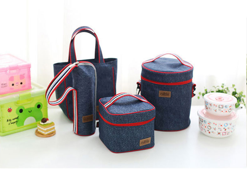 Honana DW-LB5 Jean Aluminum Insulated Lunch Bag Picnic Bento Food Box Cooler Bag Organization