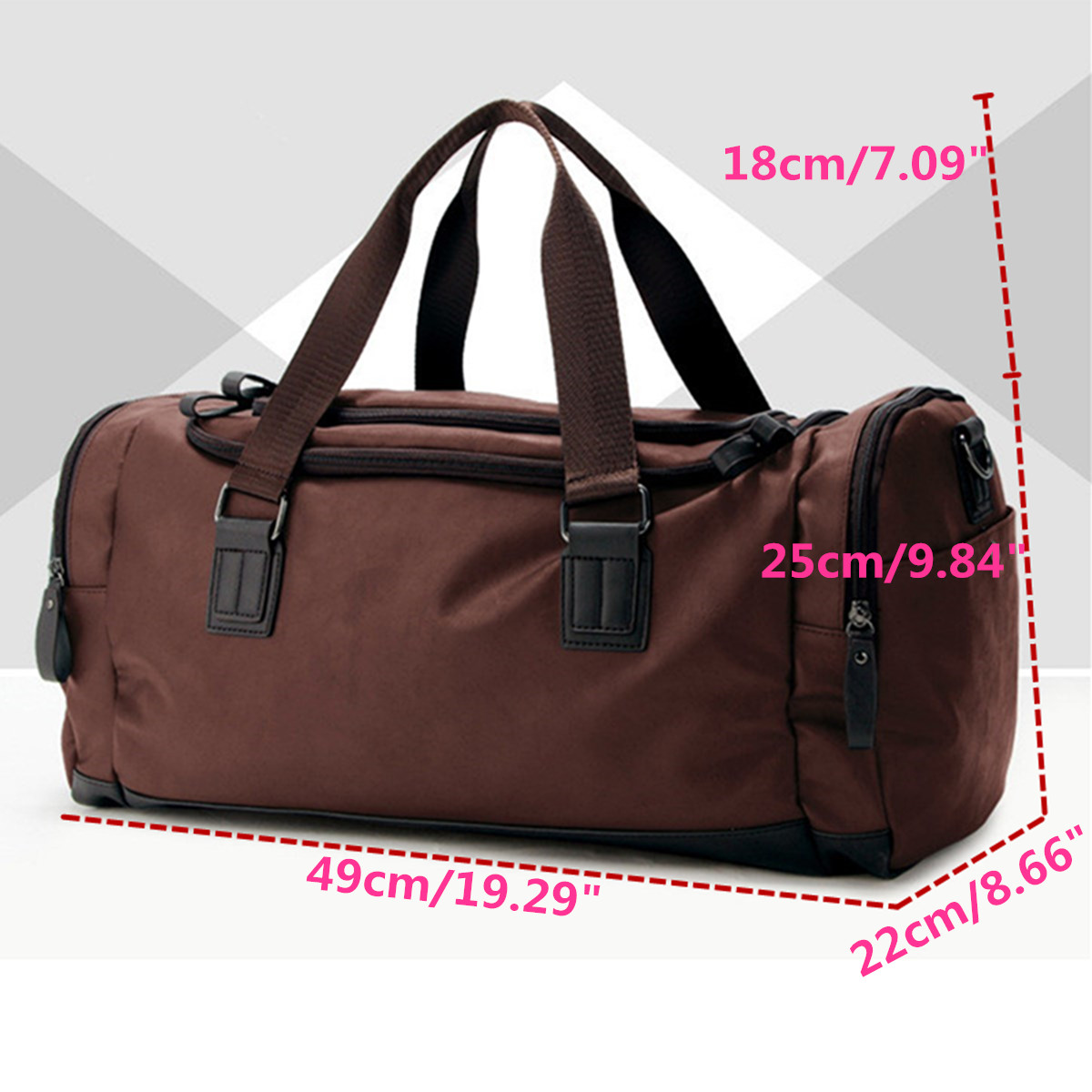 49x22x25cm PU Leather Outdoor Sports Bag Portable Camping Handbags Travel Bag for Gym Fitness