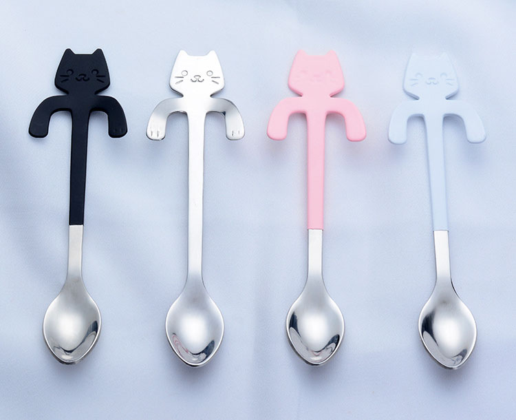 304 Stainless Steel Coffee Spoon Creative Kitty Hook Dirtproof Coffee Tea Spoon Scoop