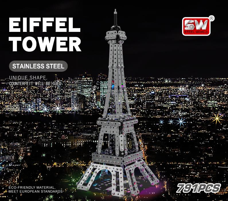 Mofun SW-019 3D Metal Puzzle The Eiffel Tower With Light 34CM Model Building Toys Stainless Steel 791PCS