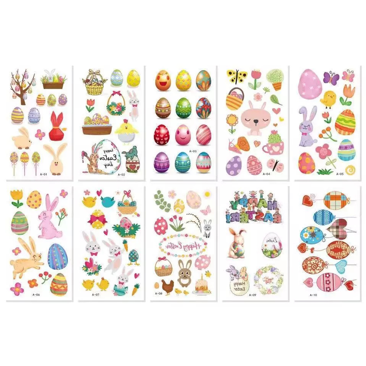 Easter Temporary Tattoo Stickers Easter Eggs Rabbit Bunny