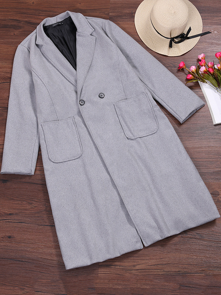 S-5XL Women Turn-Down Collar Button Wool Outwear Coat