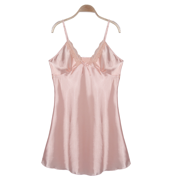 Women Pink Silk Strap Nightgown Lingerie