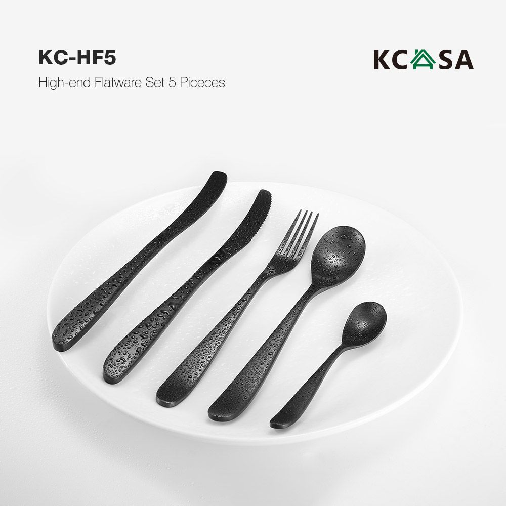 KCASA KC-HF5 High-end 420 Stainless Steel 5 Pieces Flatware Set Meniscus Design Dinnerware Set With Strong OPP Protective Bag