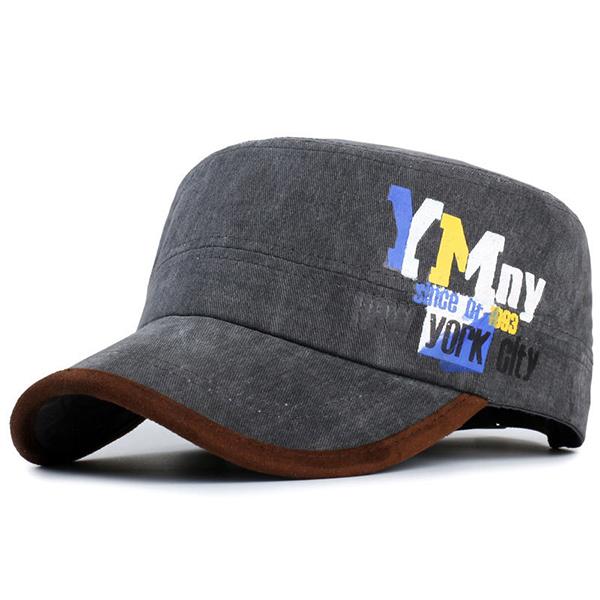 Men Letter Print Cotton Flat Top Hat Outdoor Sports Army Cadet Hat Adjustable Baseball Cap