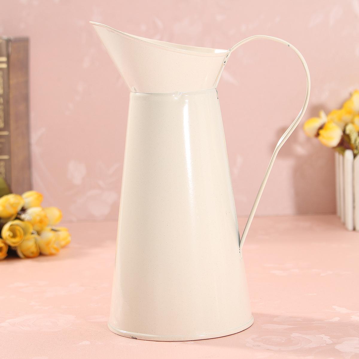 White Vintage Shabby Chic Cream Vase Enamel Pitcher Jug Pot Tall Metal Wedding Decor