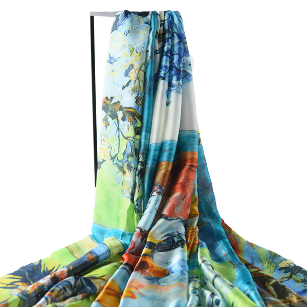 LYZA Women Soft Warm Flower Painting Scarf Elegant Style Sunscreen Shawl