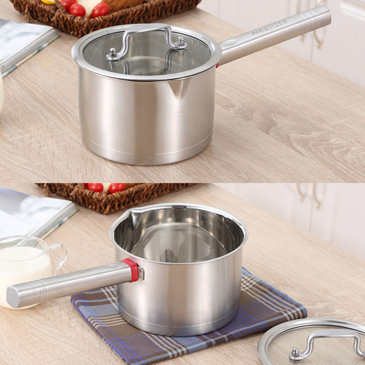 18cm Saucepan with Lid Stainless Steel Induction Cookware Stockpot Milk Soup Pan Milk Pot