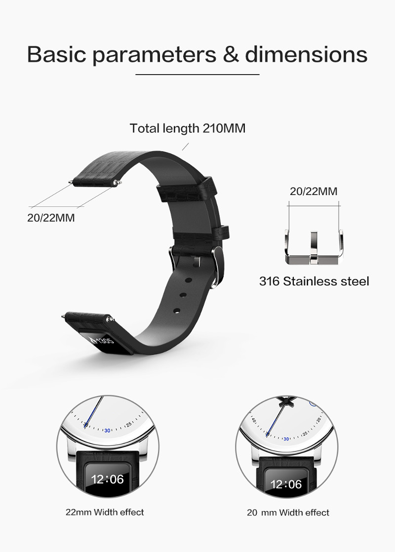 20mm H1 Step Calories Smart Watch Band Remote Camera Call Notification Smart Watch Strap