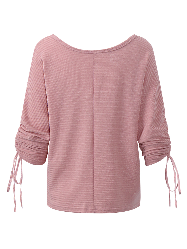 Sexy Women Pure Color One Shoulder Batwing Sleeve Pullover Sweater