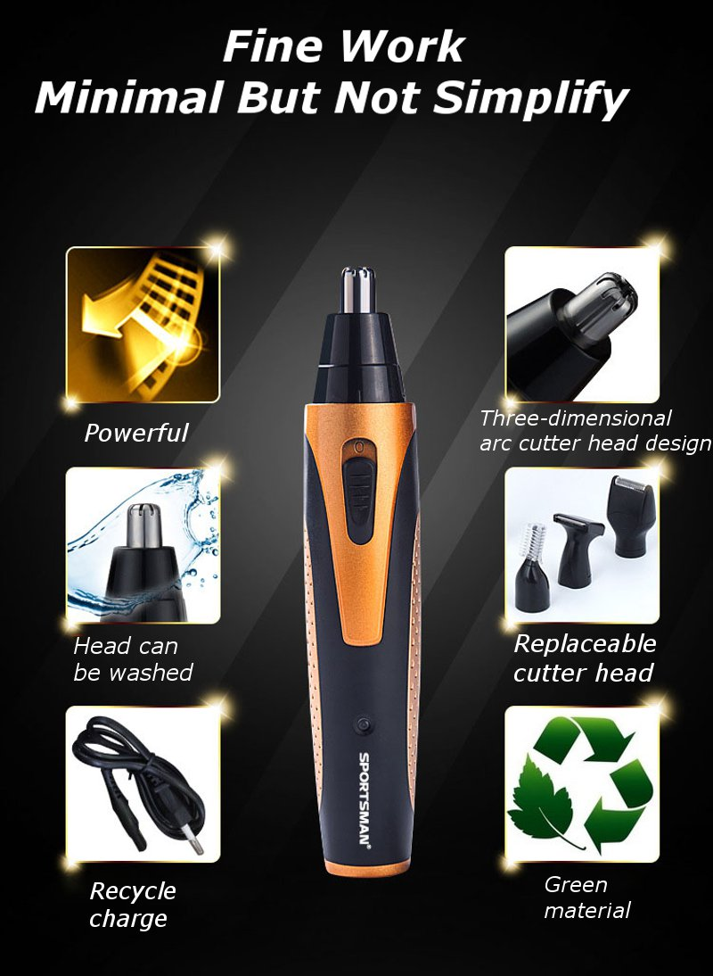 SPORTSMAN Electric Waterproof Nose Hair Removal Tool Trimmer Matte Texture