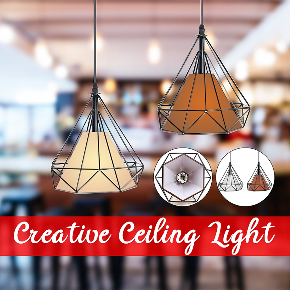 E27 Modern Industrial Vintage Cage Hanging Ceiling Pendant Light Holder Lamp Shade