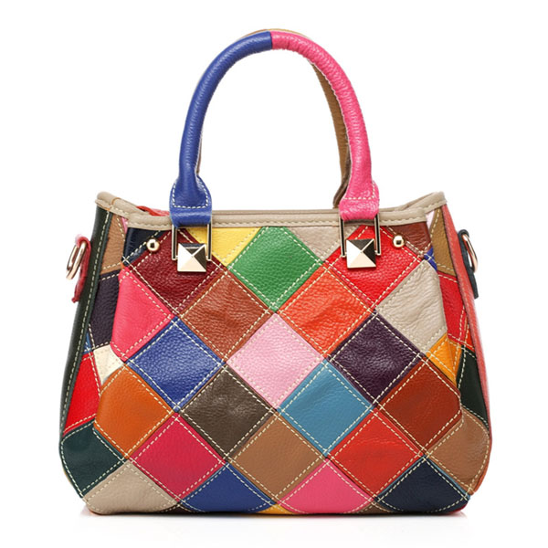 Women Patchwork Cowhide Colorful Handbag Tote Handbag