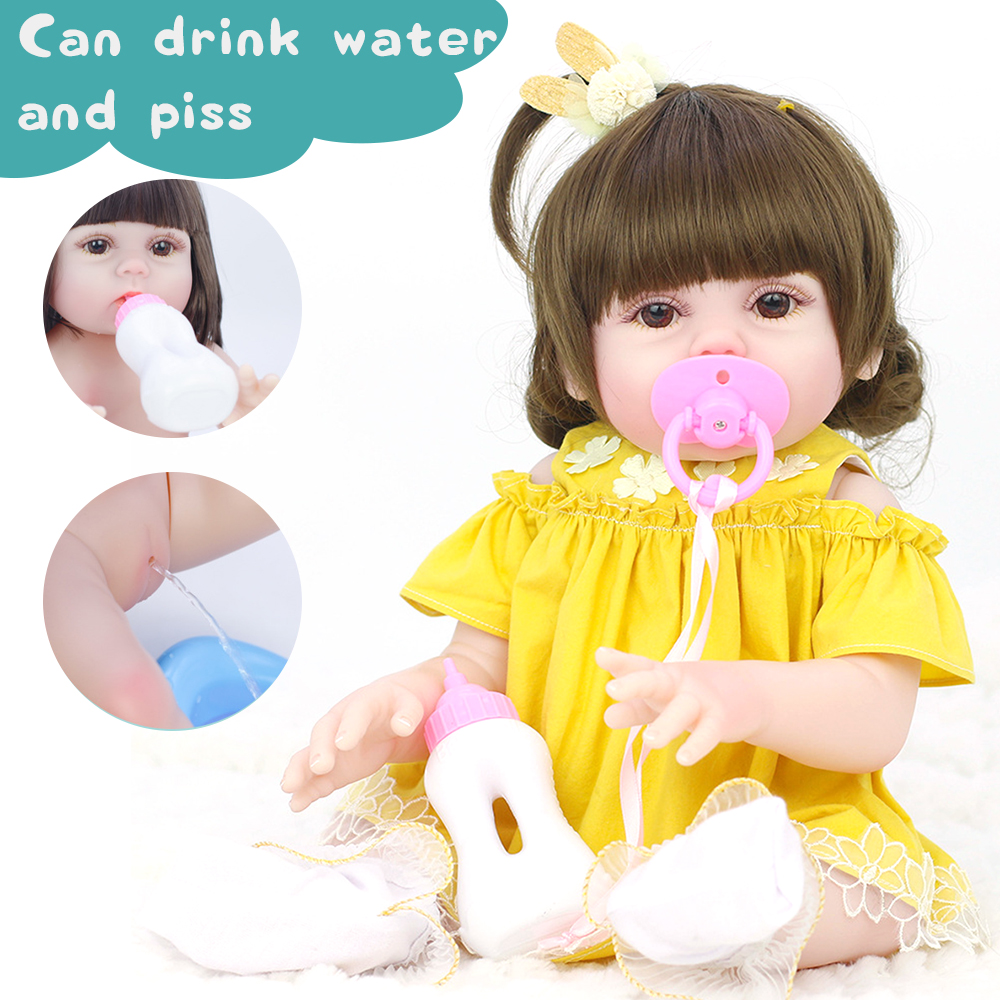 53CM Cute Soft Silicone Vinyl Lifelike Realistic Head Moveable Multi-function Reborn Baby Doll Toy - Photo: 4